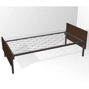Кровать металлическая двухъярусная со спинками из ЛДСП сетка прокатная пружина