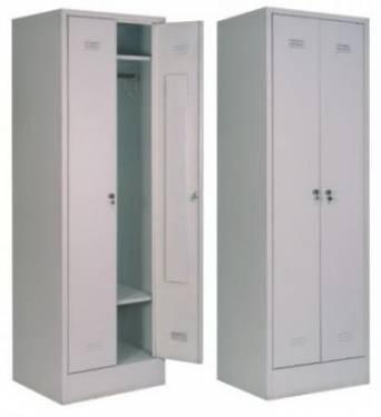 Шкаф металлический для одежды 2-х секционный с дополнительной полкой