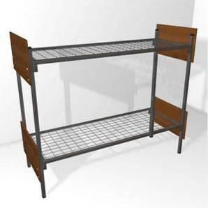 Кровать металлическая двухъярусная со спинками из ЛДСП