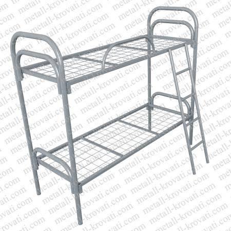 Кровать металлическая двухъярусная усиленная, (1 перемычка + двойная ножка) с лестницей
