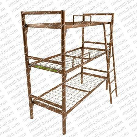 Кровать металлическая трехъярусная усиленная с лестницей и ограничителем