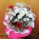 Фото Букет из кустовых хризантем с розами На свете много есть... Повсеместно Интернет-магазин