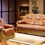 Фото Диван и два кресла консул-23, натуральная кожа №1060, массив... Ижевск сеть магазинов